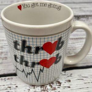 """VINTAGE 80'S EXCLAMATIONS """"Throb Throb"""" Coffee Mug"""